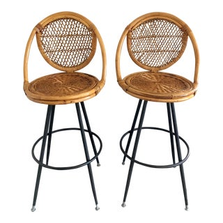 Bamboo Bar Stools - Pair