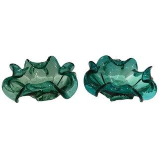 1950's Italian Murano Glass Ruffle Bowls - a Pair