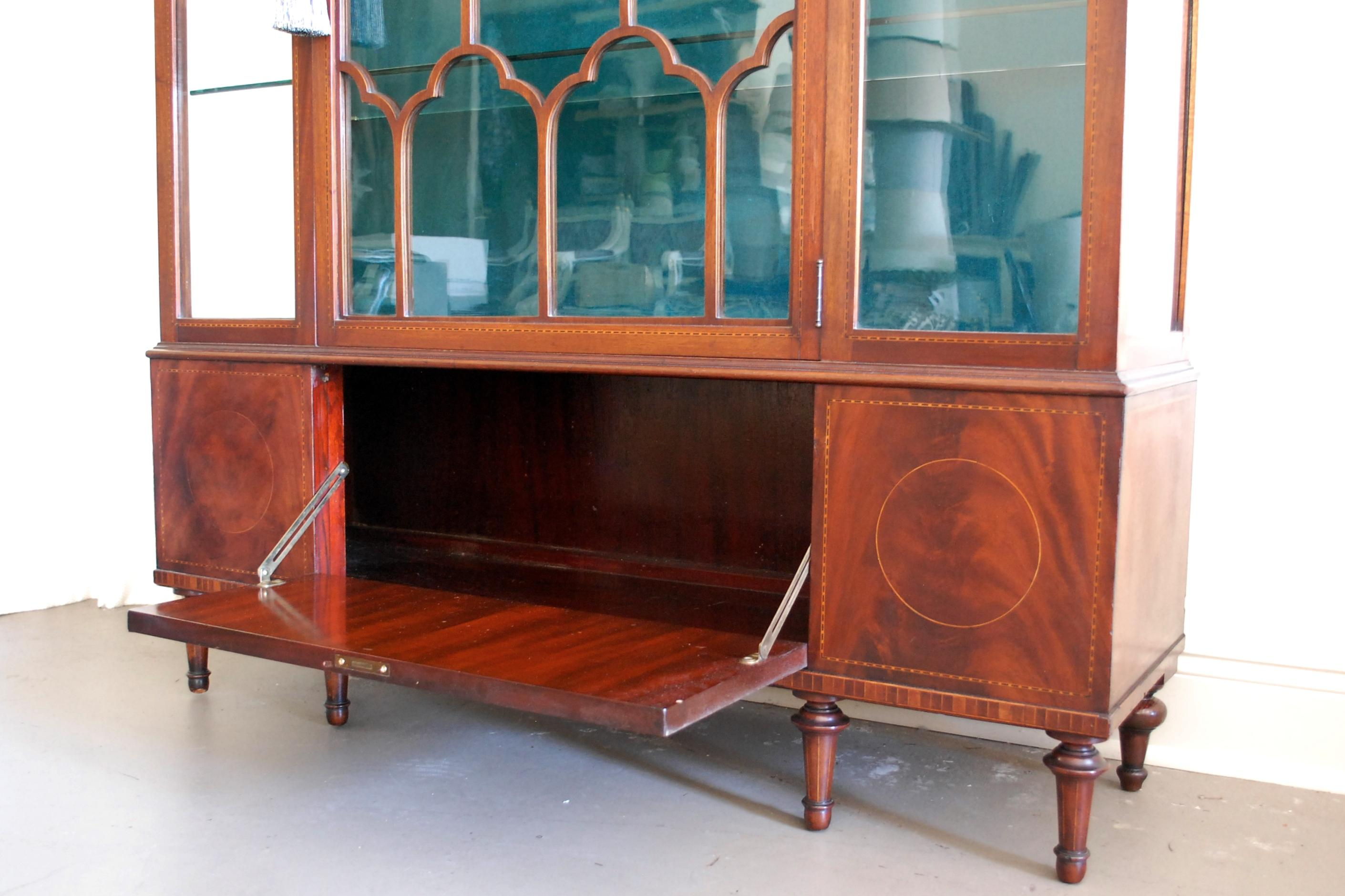 turquoise cabinets kitchen early 1900s velvet lined mahogany display cabinet chairish 2966