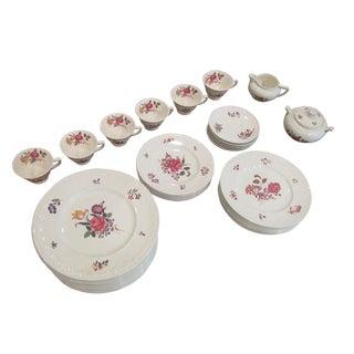 Vintage Floral Transfer & Embossed Wedgwood China - Set of 41