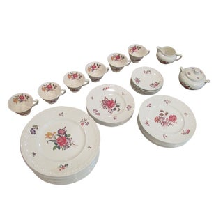 Vintage Floral Transfer & Embossed Wedgwood China - Set of 41