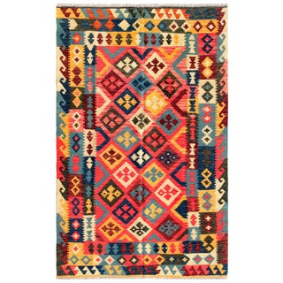 "Vintage Turkish Kilim Area Rug - 4'5"" X 7'2"""