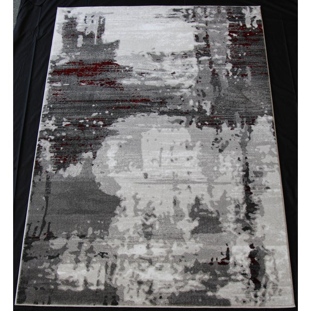 "Contemporary Gray & Red Abstract Rug - 6'7"" x 9'7"" - Image 2 of 8"