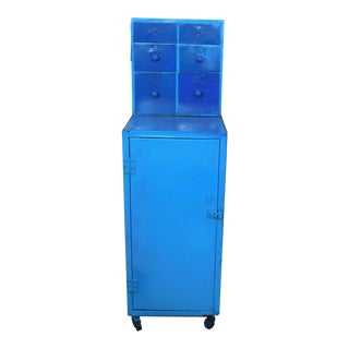 Painted Blue Metal Industrial Garage Work-Shop Cabinet
