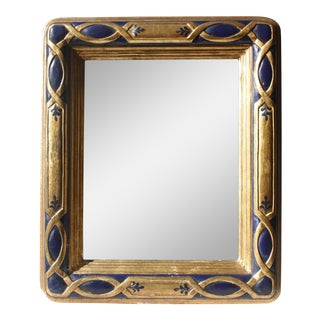 Antique Persian-Style Blue & Gold Framed Wall-Hanging Oxidized Mirror
