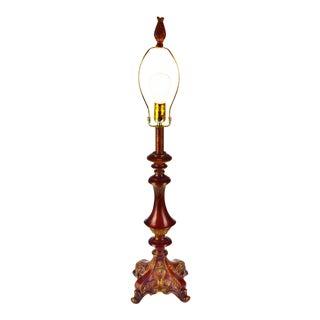 Vintage Carved Wood Look Table Lamp