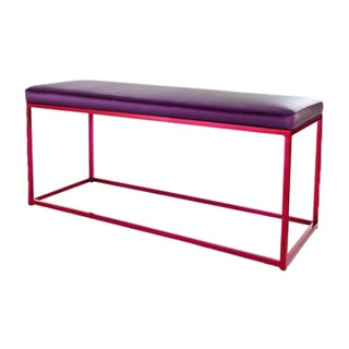 Raspberry Cromatti Croma Bench With Purple Cushion