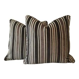 Cut Velvet Stripe Pillows - A Pair