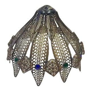 Vintage Pierced Metal Lamp Shade Jeweled Filigree