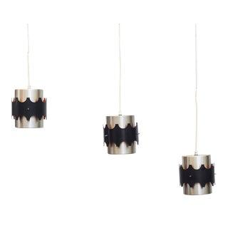 Hoogersvort Style Spun Aluminum & Black Cylinder Pendants - Set of 3