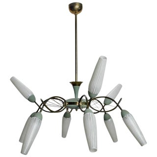 Mid-Century Stilnovo Style Italian Nine-Light Chandelier