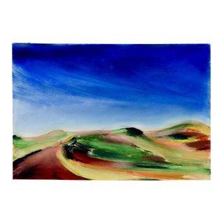 "Modernist ""Red Road"" Landscape Gouache"