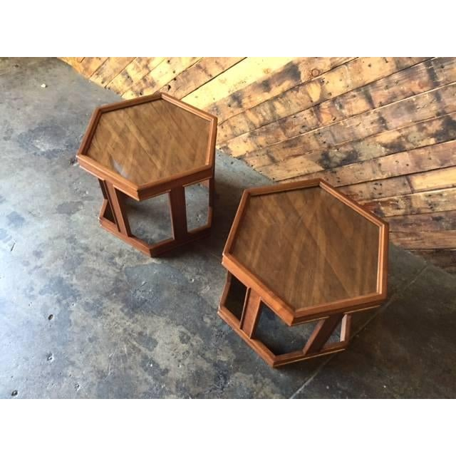 Mid-Century Brown Saltman Side Tables - A Pair - Image 3 of 5