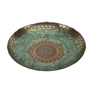 Peacock Blue and Gold Paisley Bowl