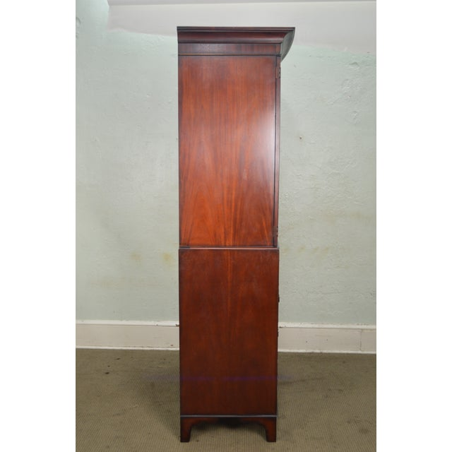 George III Style Large Mahogany Linen Press Armoire by Baker - Image 3 of 9