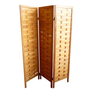 Mid Century Modern Woven Wood Room Divider or Screen