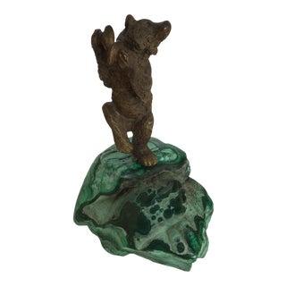 Russian Bronze Dancing Bear Sculpture on Malachite