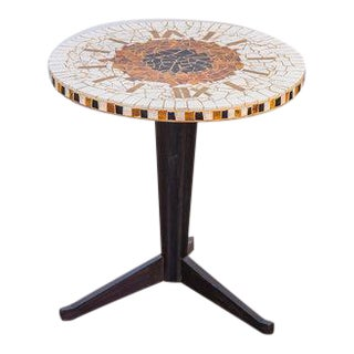 Italian Mosaic Clock Side Table