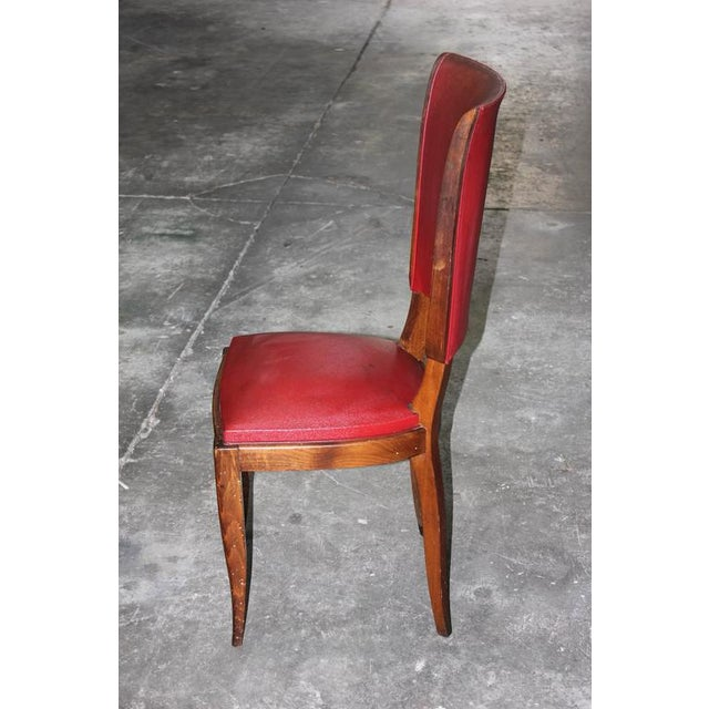 Set of Six French Art Deco Classic Solid Mahogany Dining Chairs, circa 1940s. - Image 5 of 10
