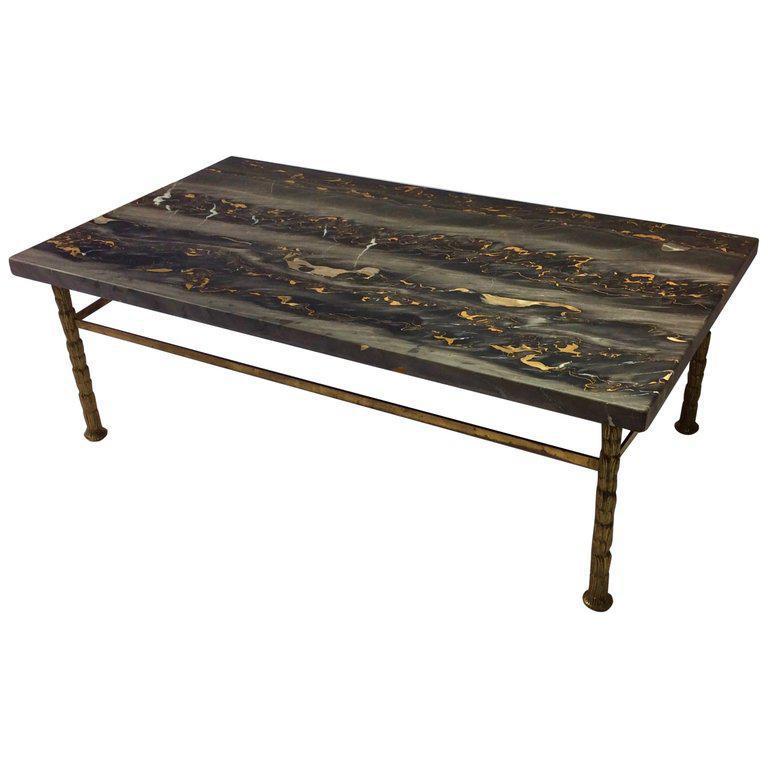 Mid Century Nero Portero Marble Coffee Table On Brass Base