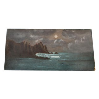 Vintage Sea & Moon Painting