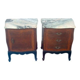 French Provincial Marble Nightstands - A Pair