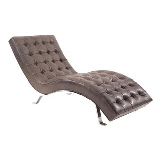 Button Tufted Gray Leather Chaise Longue
