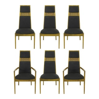 Six Sculpted Ash Tall Back Kroehler Dining Chairs