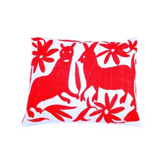 Red Hand-woven Otomi Pillow Cover
