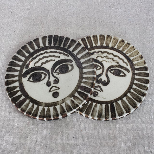 Mid-Century Sun Face Trivets by Ken Edward - Pair - Image 2 of 7