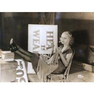 1932 Original Dorothy Hall Sepia Photo Smoking Backstage