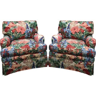 Pair of Henredon Floral Club Chairs in the Style of Dorothy Draper