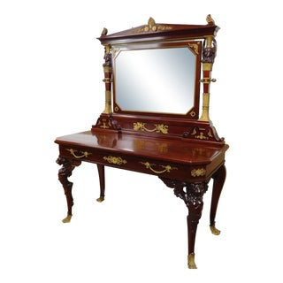 Antique 19th Century French Empire Mahogany & Gilt Bronze Dressing Table