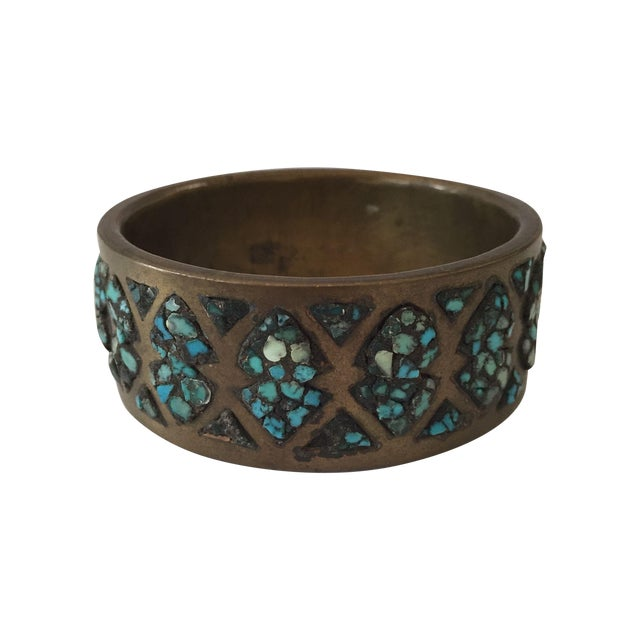 Image of Vintage Indian Style Mosaic Turquoise Wide Bangle