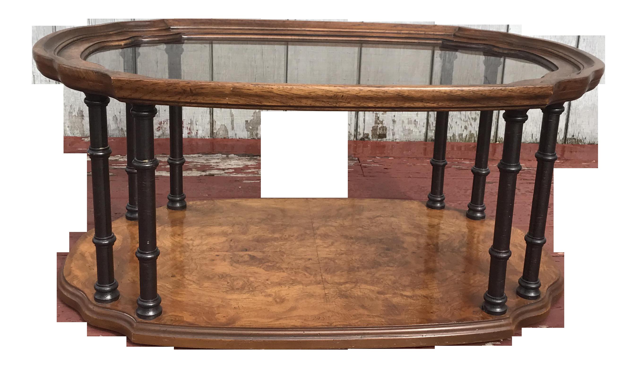 Drexel Burl Wood Faux Bamboo Coffee Table Chairish