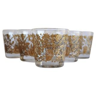 Vintage Gold Floral Glasses, Set of 6