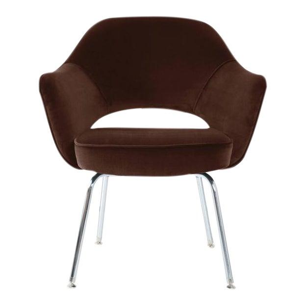 Saarinen Executive Armchairs in Espresso Brown Velvet, Set of Six - Image 1 of 4