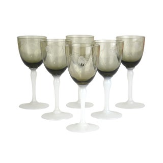 Vintage Smoke Glass Cordial Stems - Set of 6