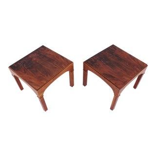 Pair Brown Saltman Walnut Side Tables