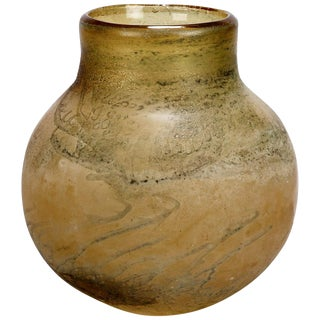 Mid-Century Italian Taupe Color Round Body Murano Vase Attributed to Seguso