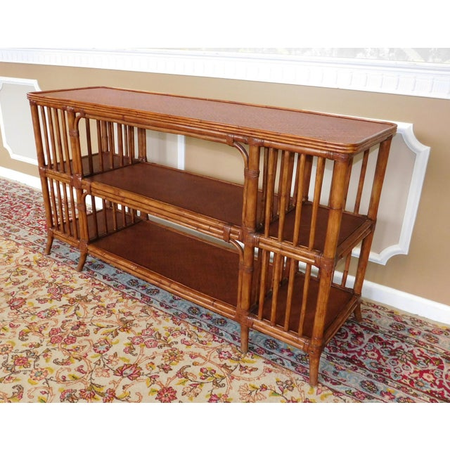 Ethan Allen Rattan Media Console Sofa Table - Image 4 of 9
