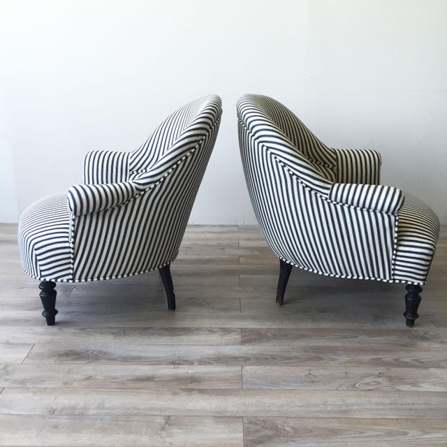 French Striped Napoleon III Armchairs - Pair