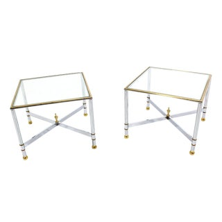 Mid-Century Modern X-Base Side Tables - A Pair