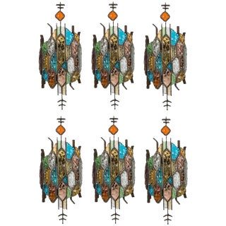 Poliarte Style Stained Glass Sconces - Set of 6