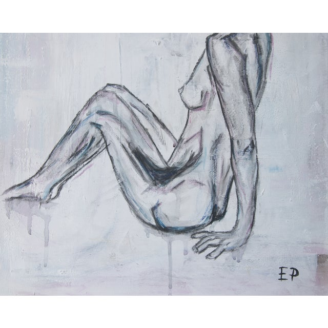 Image of Sitting Nude Woman-Abstract Figurative Painting