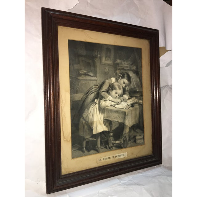 """19th Century """"The Writing Lesson"""" Lithograph - Image 7 of 11"""