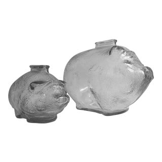 Anchor Hocking Glass Piggy Banks - A Pair