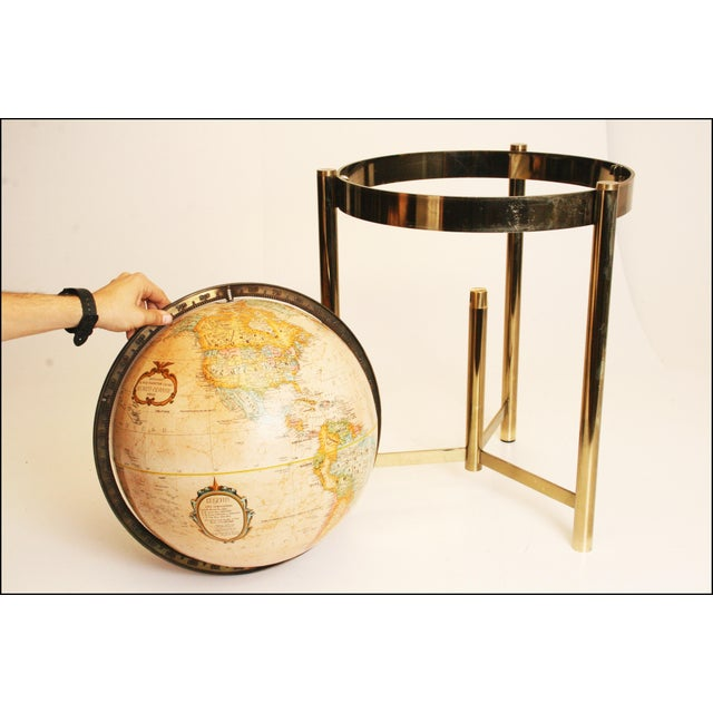 Mid-Century Modern Replogle World Globe W Brass Stand - Image 8 of 11