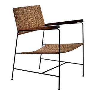 Rare Arden Riddle Armrest Chair in Rattan