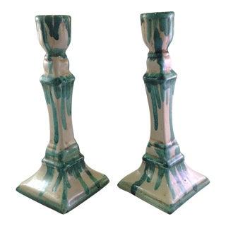 Arles Green Glazed Candlesticks - A Pair